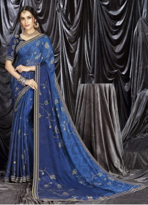 Shaded Blue Saree For Festival