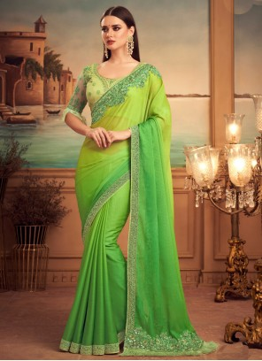 Shaded Saree Patch Border Faux Chiffon in Green and Yellow