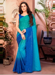 Shaded Saree Sequins Faux Chiffon in Blue and Sea Green
