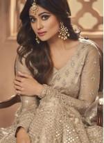 Shamita Shetty Beige Net Floor Length Anarkali Suit