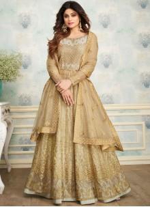 Shamita Shetty Beige Party Designer Lehenga Choli
