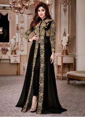 Shamita Shetty Black Anarkali Salwar Kameez