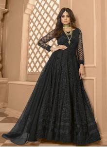 Shamita Shetty Black Festival Floor Length Anarkali Suit