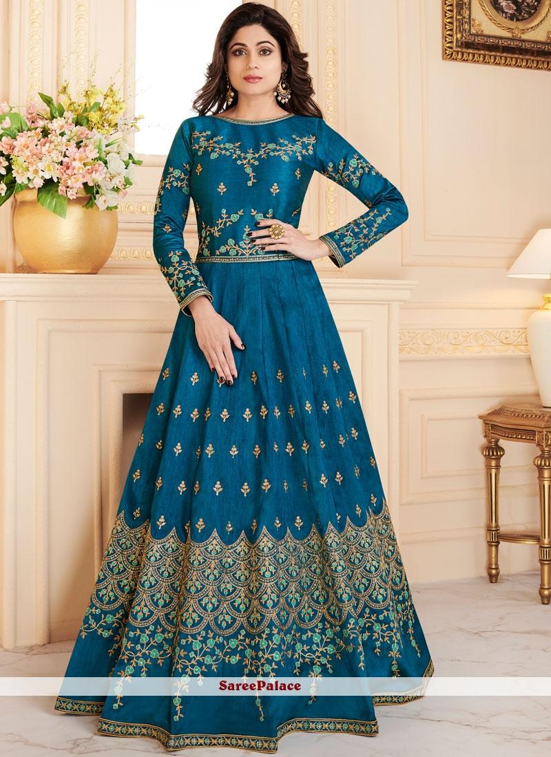 Shamita Shetty Blue Floor Length Anarkali Suit