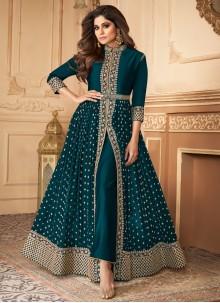 Shamita Shetty Teal Designer Floor Length Suit For Engagement