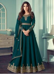 Shamita Shetty Teal Designer Suit For Festival