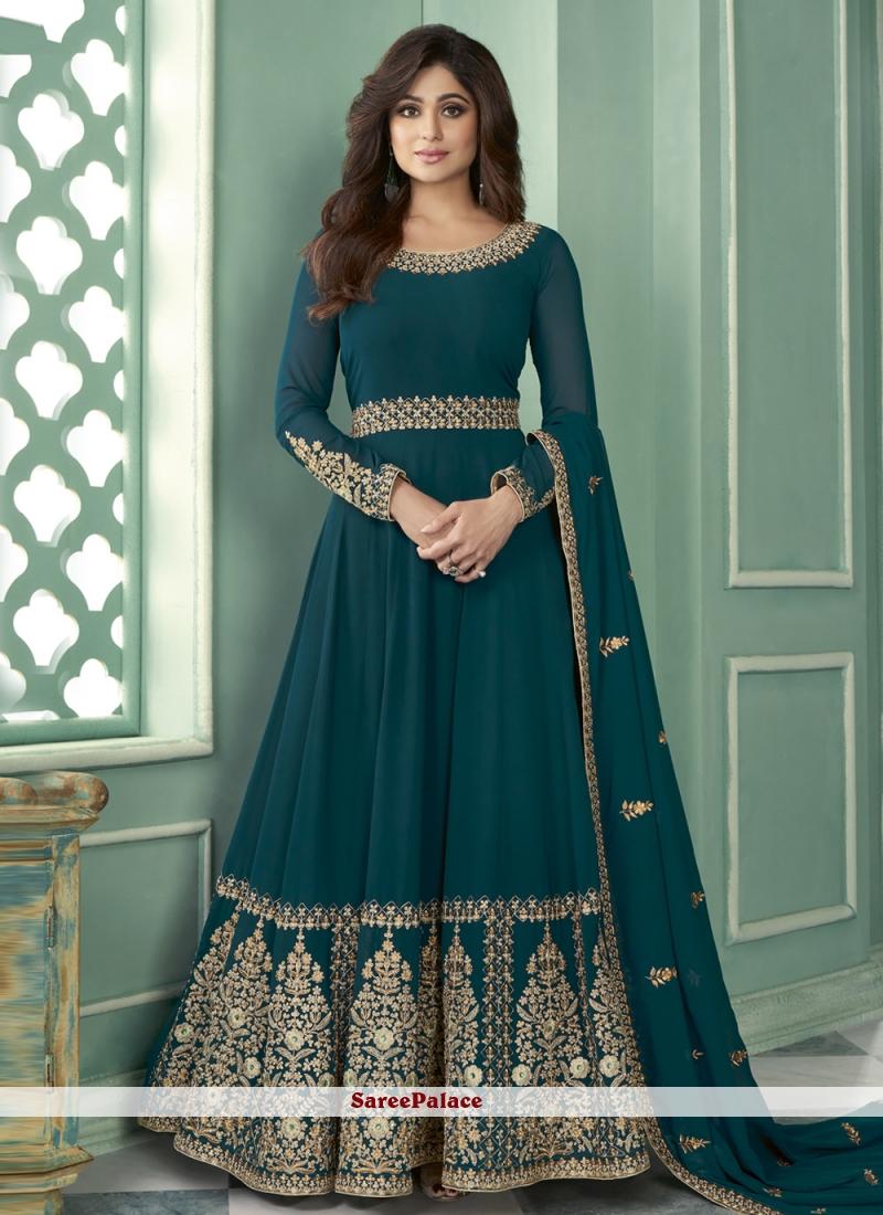 Shamita Shetty Teal Designer Suit For Sangeet