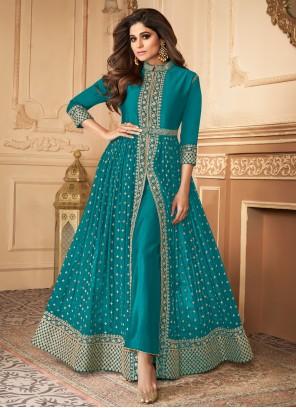 Shamita Shetty Embroidered Blue Faux Georgette Designer Floor Length Suit