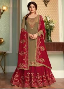 Shamita Shetty Embroidered Brown and Rani Faux Georgette Long Choli Lehenga