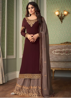 Shamita Shetty Embroidered Designer Palazzo Salwar Kameez