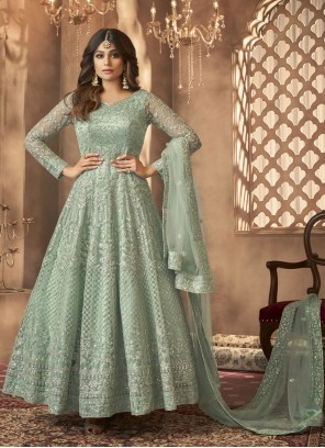 Shamita Shetty Green Embroidered Floor Length Anarkali Suit