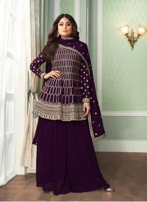 Shamita Shetty Embroidered Purple Designer Palazzo Salwar Kameez