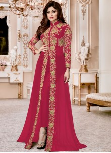 Shamita Shetty Embroidered Work Faux Georgette Pant Style Suit