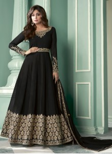 Shamita Shetty Faux Georgette Black Designer Suit