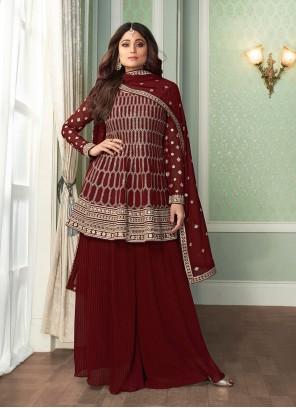 Shamita Shetty Faux Georgette Maroon Embroidered Designer Palazzo Salwar Suit