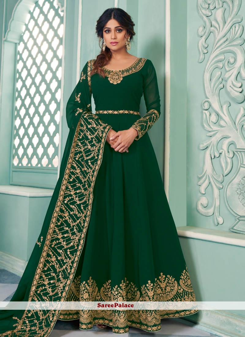 Shamita Shetty Faux Georgette Embroidered Floor Length Green Anarkali Salwar Suit
