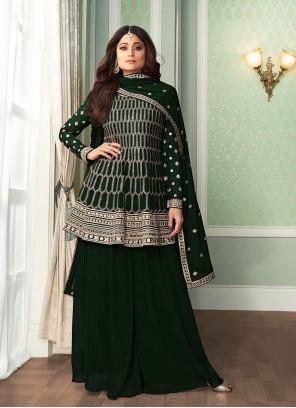 Shamita Shetty Faux Georgette Green Embroidered Palazzo Designer Salwar Kameez