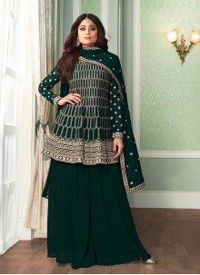 Shamita Shetty Faux Georgette Green Embroidered Designer Palazzo Salwar Kameez
