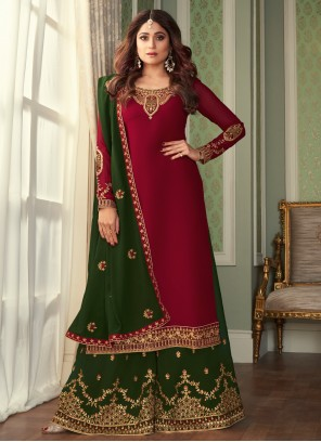 Shamita Shetty Faux Georgette Magenta Embroidered Designer Palazzo Suit