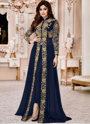 Shamita Shetty Faux Georgette Pant Style Suit