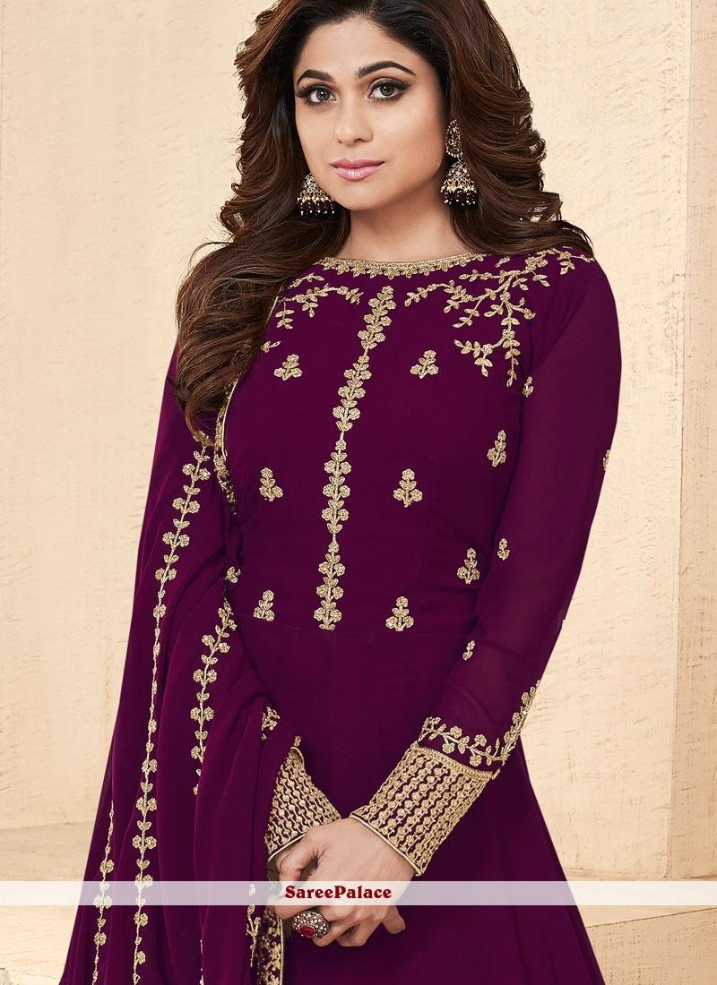 b2c7c407b2 Buy Shamita Shetty Faux Georgette Purple Floor Length Anarkali Suit ...