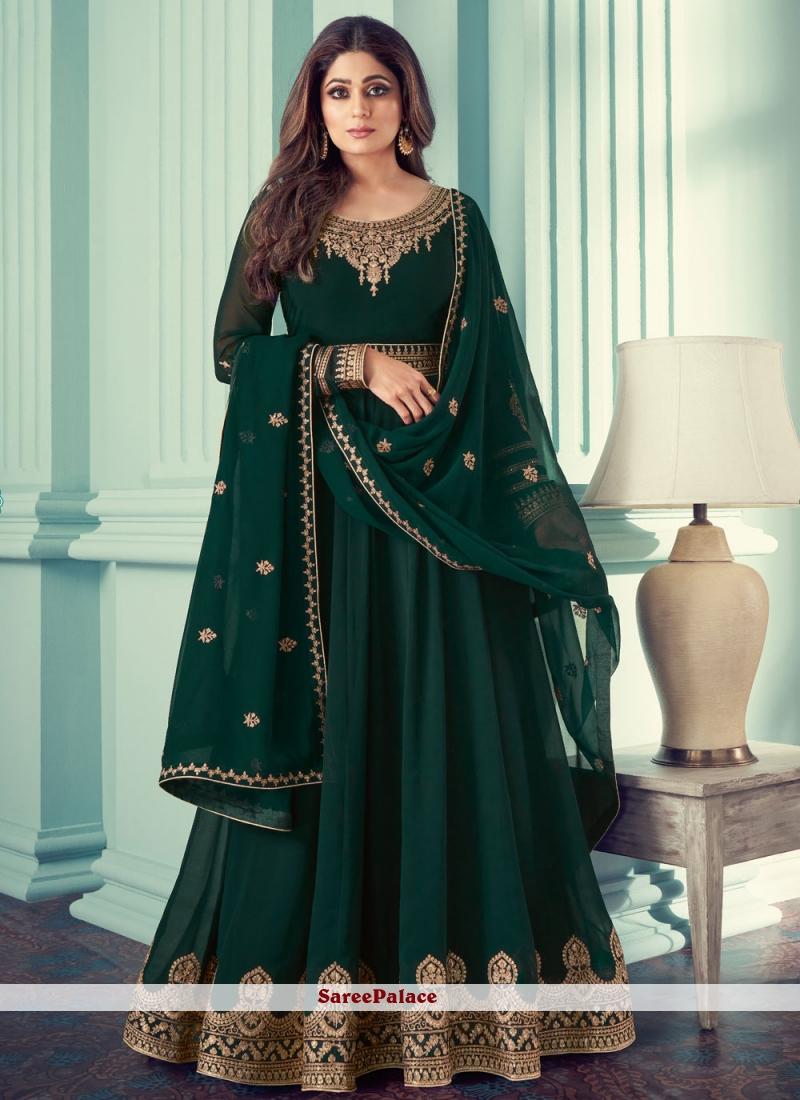 Shamita Shetty Faux Georgette Resham Green Designer Suit