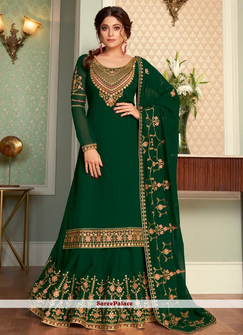 Shamita Shetty Faux Georgette Green Sangeet Long Choli Lehenga