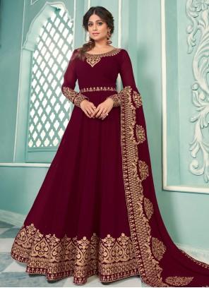 Shamita Shetty Magenta Floor Length Anarkali Suit