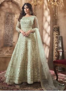 Shamita Shetty Floor Length Green Anarkali Suit