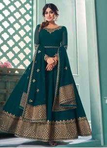 Shamita Shetty Teal Floor Length Anarkali Suit For Festival
