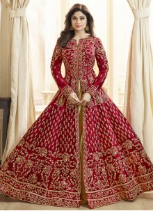 Shamita Shetty Floor Length Anarkali Suit For Wedding