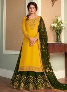 Shamita Shetty Green and Yellow Faux Georgette Long Choli Lehenga