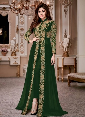 Shamita Shetty Green Embroidered Work Anarkali Salwar Suit