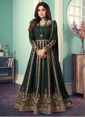 Shamita Shetty Green Faux Georgette Designer Floor Length Suit