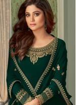 Shamita Shetty Green Festival Designer Palazzo Salwar Suit