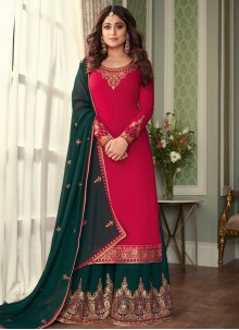 Shamita Shetty Hot Pink Faux Georgette Designer Palazzo Salwar Suit