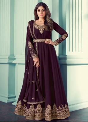 Shamita Shetty Immaculate Purple Designer Suit