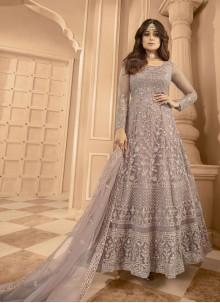 Shamita Shetty Lavender Net Floor Length Anarkali Suit