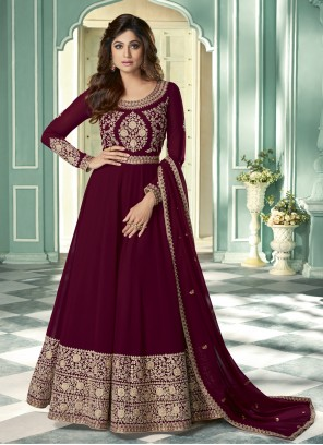 Shamita Shetty Magenta Faux Georgette Designer Suit