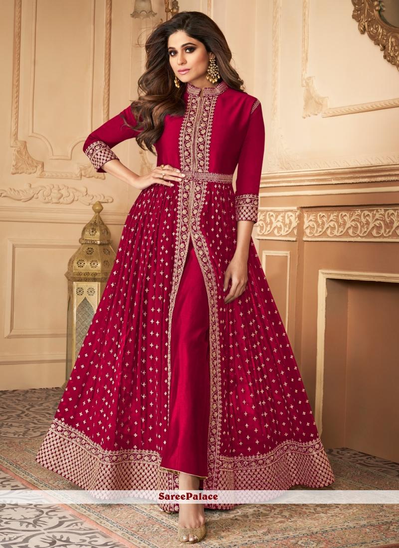 Shamita Shetty Magenta Resham Designer Floor Length Suit