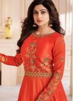 Shamita Shetty Malbari Silk  Orange Zari Floor Length Anarkali Suit