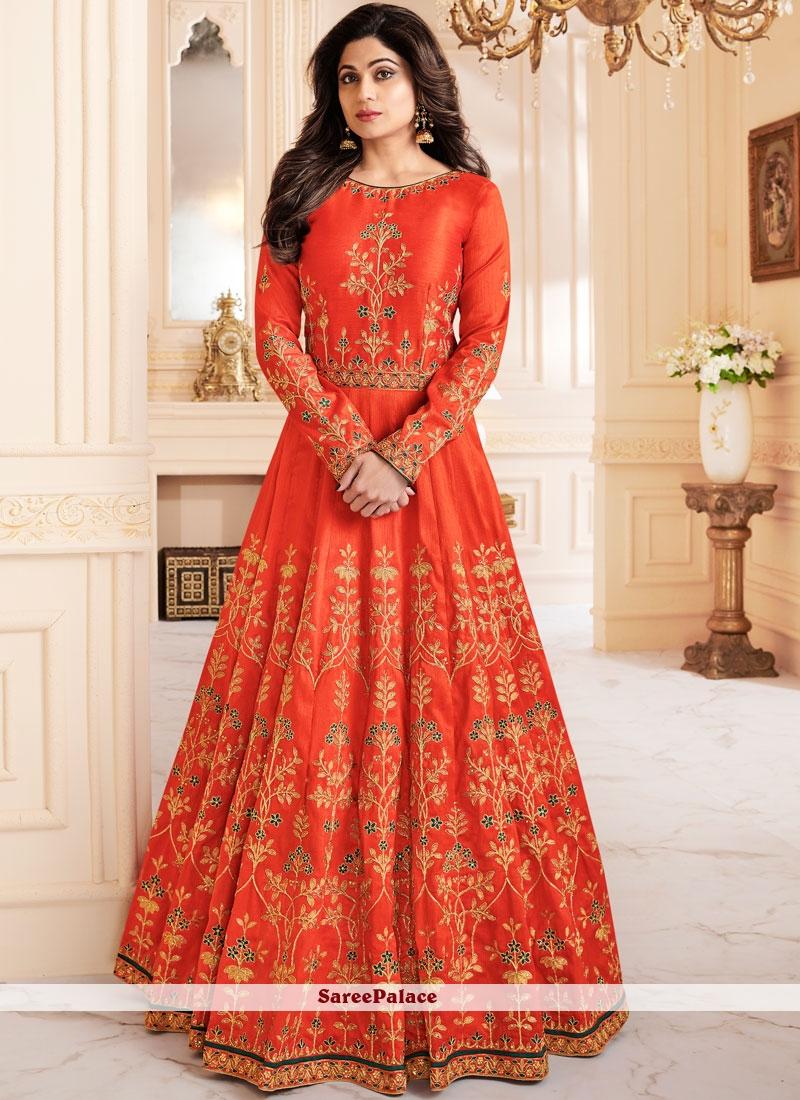 f02b259a31 Buy Shamita Shetty Malbari Silk Orange Zari Floor Length Anarkali Suit  Online