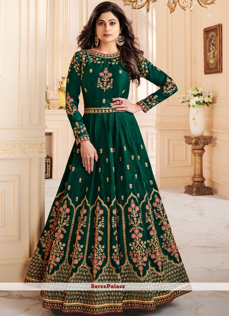 Shamita Shetty Malbari Silk  Zari Floor Length Anarkali Suit