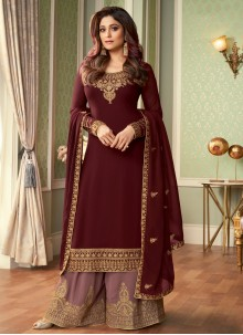 Shamita Shetty Maroon Designer Palazzo Suit