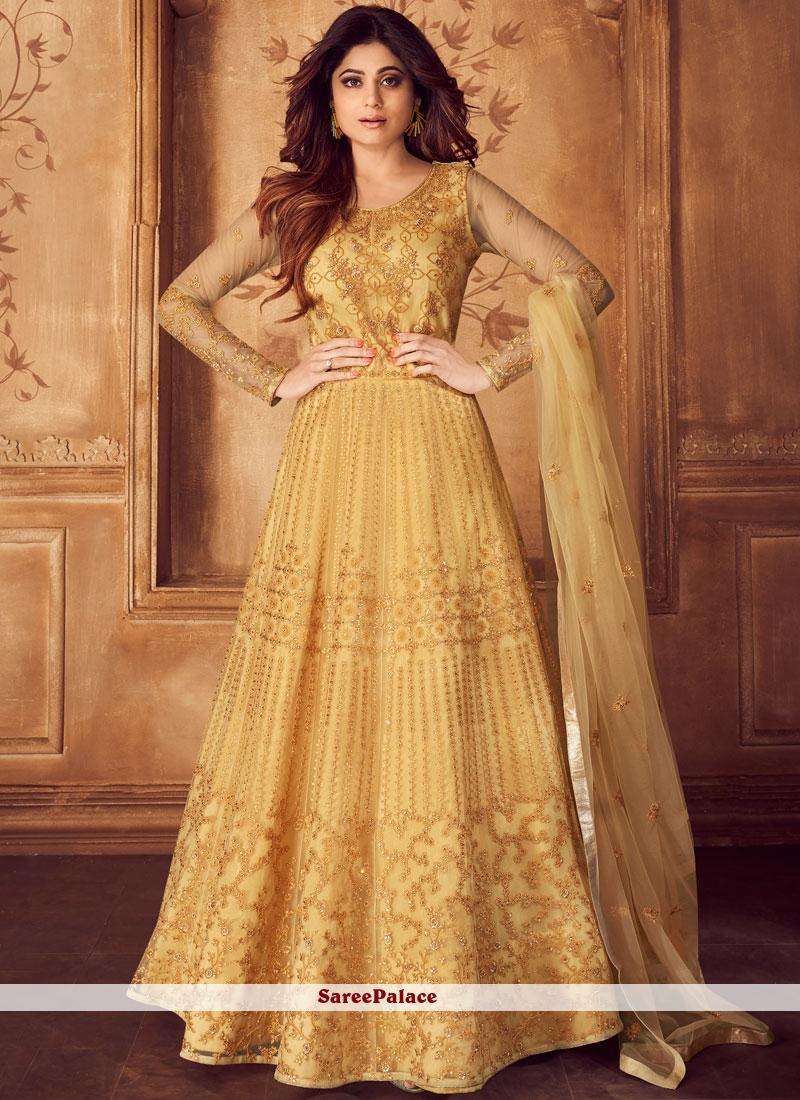 Shamita Shetty Net Ceremonial Floor Length Anarkali Suit