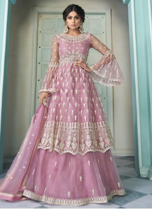 Pink Shamita Shetty Net Ceremonial Long Choli Lehenga