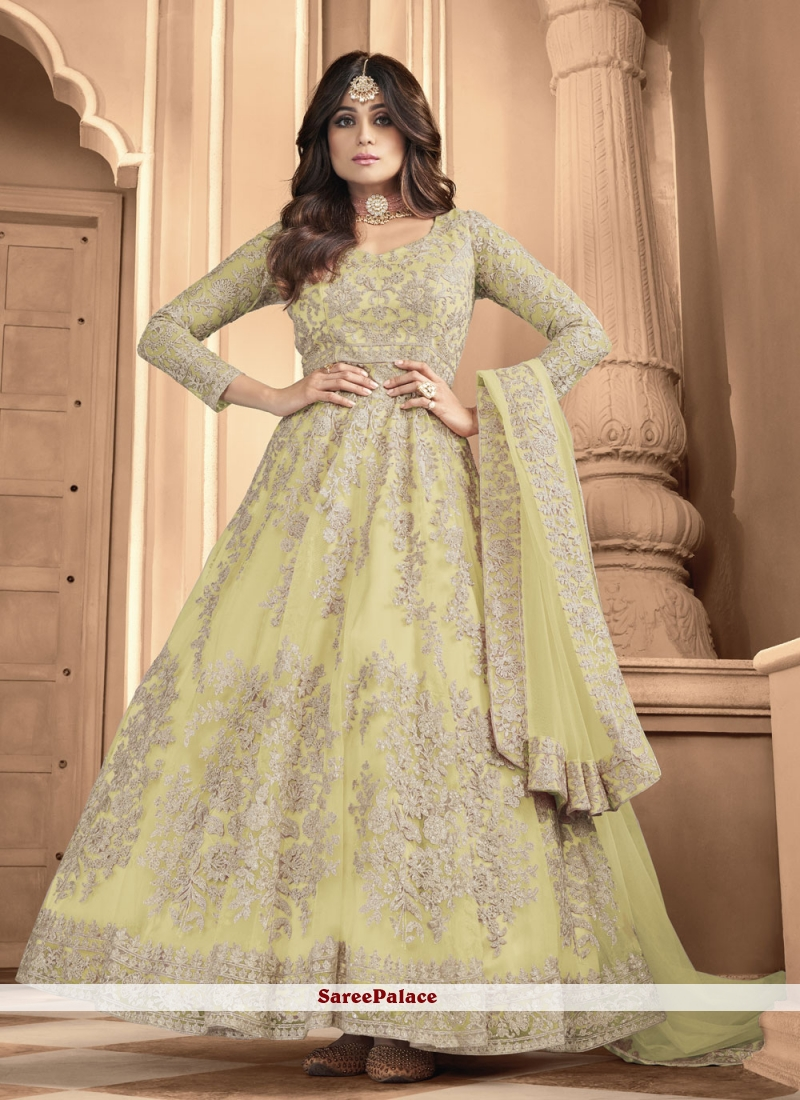 Shamita Shetty Yellow Net Floor Length Anarkali Suit
