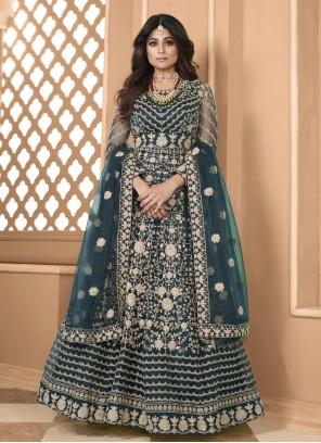 Teal Shamita Shetty Net Resham Floor Length Anarkali Suit