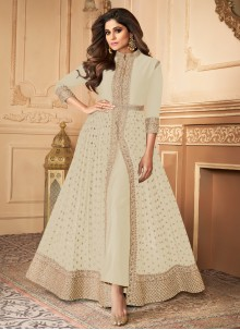 Shamita Shetty Off White Faux Georgette Embroidered Designer Floor Length Suit