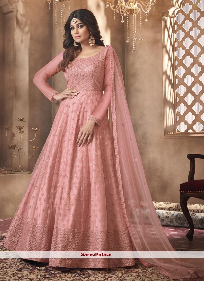 Shamita Shetty Pink Net Embroidered Floor Length Anarkali Suit